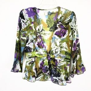 Christopher & Banks watercolor flowy top